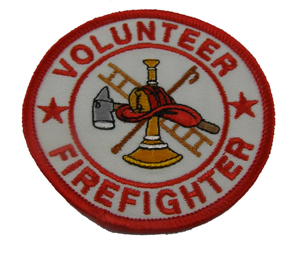 "VOLUNTEER FIREFIGHTER with Firefighter Logo 3"" Round Patch - Red Letters and Trim on White Background - Veteran Owned Business."