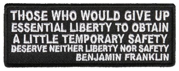 BENJAMIN FRANKLIN QUOTE PATCH