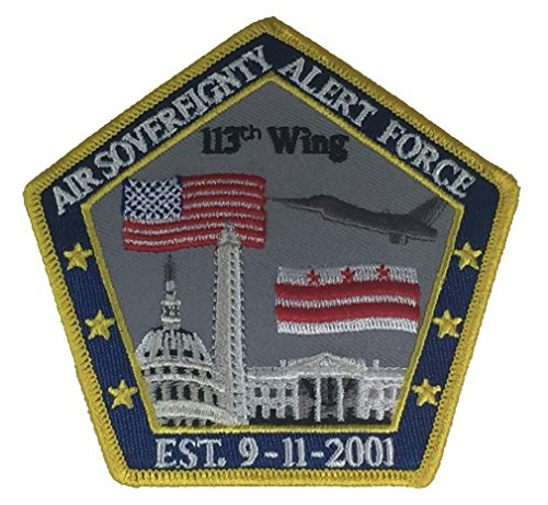 AIR SOVEREIGNTY ALERT FORCE 113TH WING EST. 9-11-2001 PENTAGON SHAPE WITH DC SKYLINE PATCH - COLOR - Veteran Owned Business - HATNPATCH