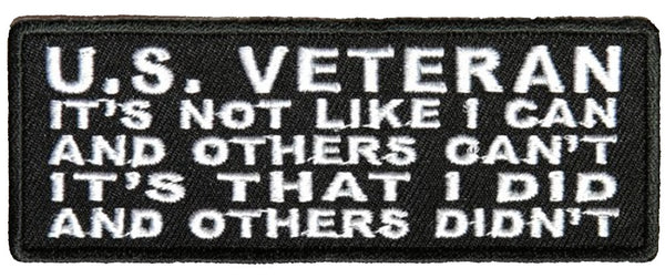 U.S. VETERAN I DID AND OTHERS DIDN'T PATCH