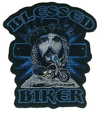 BLESSED BIKER WITH JESUS AND CROSS PATCH CHRISTIAN MOTORCYCLE VEST CUT