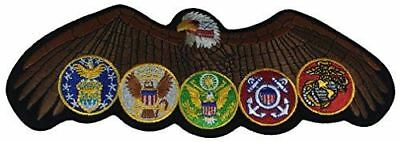 LARGE EAGLE WITH ALL US MILITARY BRANCH LOGOS PATCH ARMY NAVY USMC USAF USCG