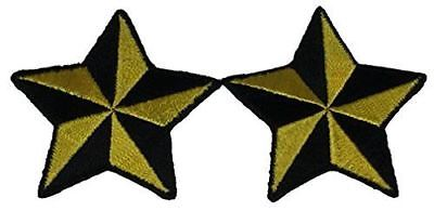 SET OF 2 YELLOW BLACK NAUTICAL STAR PATCHES ROCKABILLY RETRO PINUP STEAMPUNK