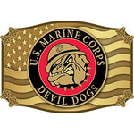 U.S. Marine Corps Devil Dog with Bulldog - Cast Belt Buckle - HATNPATCH