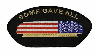 SOME GAVE ALL FLAG DRAPED CASKET PATCH VETERAN MILITARY RESPECT HONOR AMERICAN