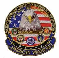 AMERICAN WARRIORS EAGLE LARGE PATCH VETERAN USCG ARMY NAVY USMC USAF