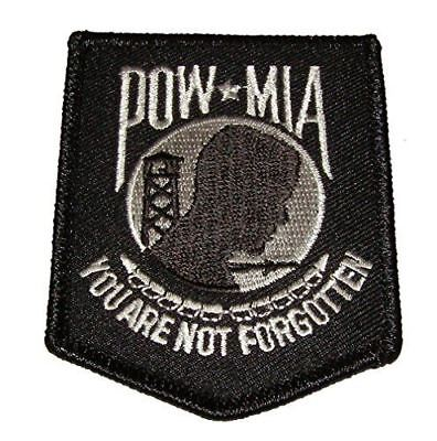 POW MIA PRISONER OF WAR MISSING IN ACTION PATCH BLACK WHITE NOT FORGOTTEN FALLEN
