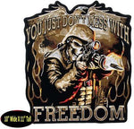 YOU JUST DON'T MESS WITH FREEDOM LARGE BACK PATCH SKELETON HELMET RIFLE WAR
