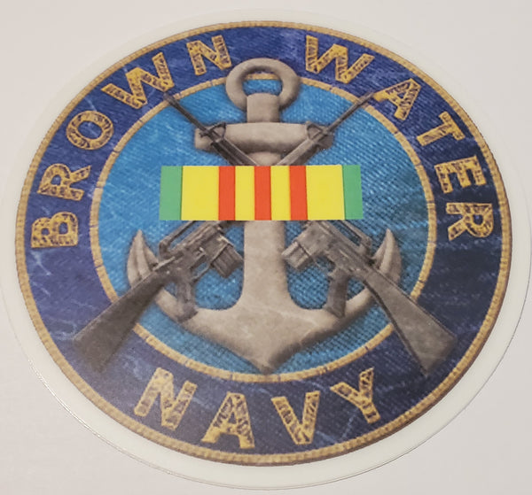 Brown Water Navy Decal with Vietnam Ribbon