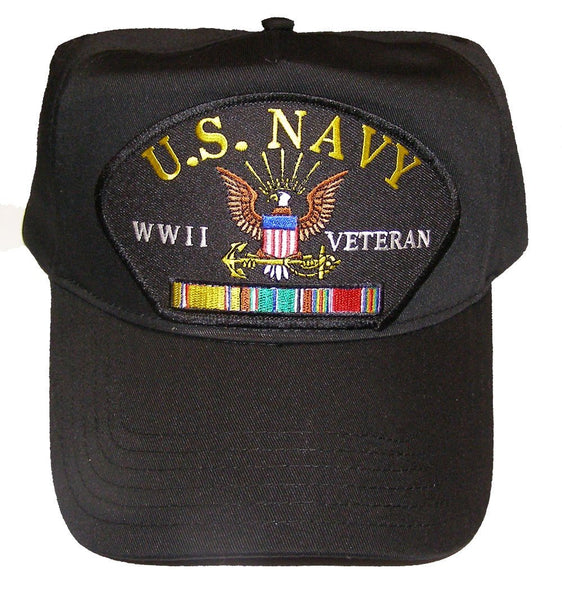 U.S. NAVY WWII Veteran Hat with ribbons and Navy Crest Cap