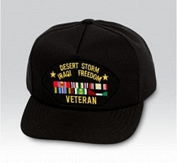 DESERT STORM IRAQI FREEDOM VETERAN HAT W/RIBBONS - HATNPATCH