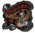 LARGE POW MIA EAGLE NEVER FORGET BACK PATCH PRISONER OF WAR MISSING IN ACTION