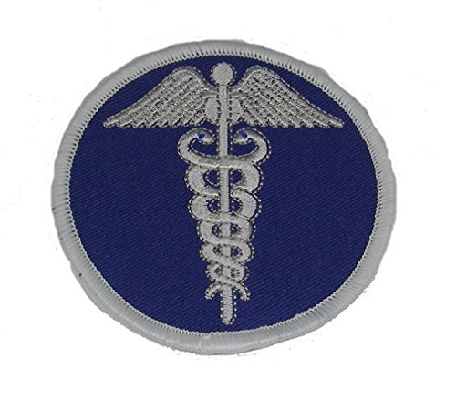 MEDICAL CADUCEUS Round Patch - Blue And White - Veteran Owned Business.