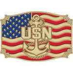 U.S. NAVY CHIEF ANCHOR OVER FLAG - Cast Belt Buckle - HATNPATCH