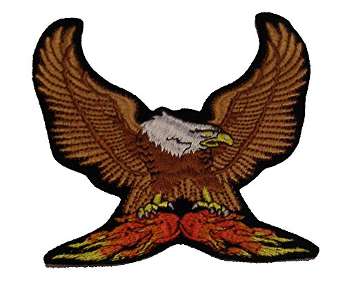 LANDING BALD EAGLE ON FLAMES Cutout Patch - Shimmering Authentic Color - Veteran Owned Business.