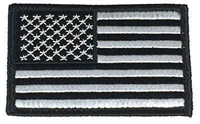 BLACK AND SILVER AMERICAN US UNITED STATES FLAG PATCH HOOK AND LOOP BACKING