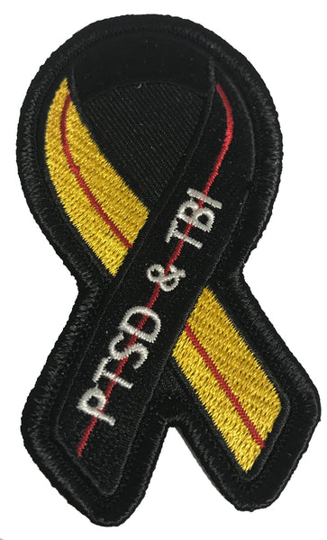 BLACK YELLOW AND RED RIBBON FOR PTSD AND TBI AWARENESS PATCH - Veteran Owned Business.