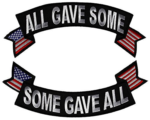 Large ALL GAVE SOME Top Rocker & SOME GAVE ALL Bottom Rocker Back Patch SET - Veteran Owned Business