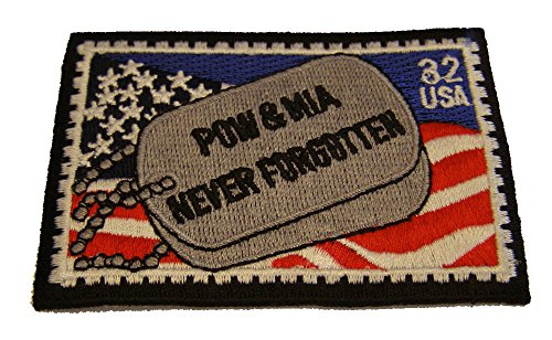 POW MIA NEVER FORGOTTEN DOGTAG STAMP .32 USA PATCH - Great Color - Veteran Owned Business.