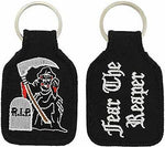 RIP FEAR THE REAPER KEY CHAIN REST IN PEACE HEAD GRAVE STONE GRIM REMEMBER