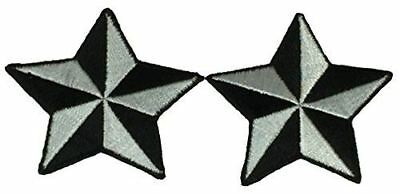 SET OF 2 SILVER BLACK NAUTICAL STAR PATCHES ROCKABILLY RETRO PINUP STEAMPUNK