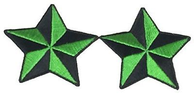 SET OF 2 GREEN BLACK NAUTICAL STAR PATCHES ROCKABILLY RETRO PINUP STEAMPUNK
