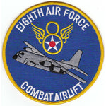 U.S. 8TH AIR FORCE COMBAT AIRLIFT C-130 Large Patch - Veteran Owned Business