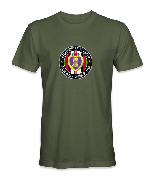 Afghanistan Purple Heart Combat Wounded Veteran T-Shirt PHT