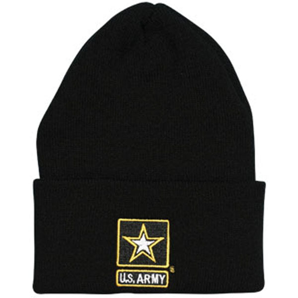Army Star Logo Direct Embroidered Black Watch Cap - HATNPATCH
