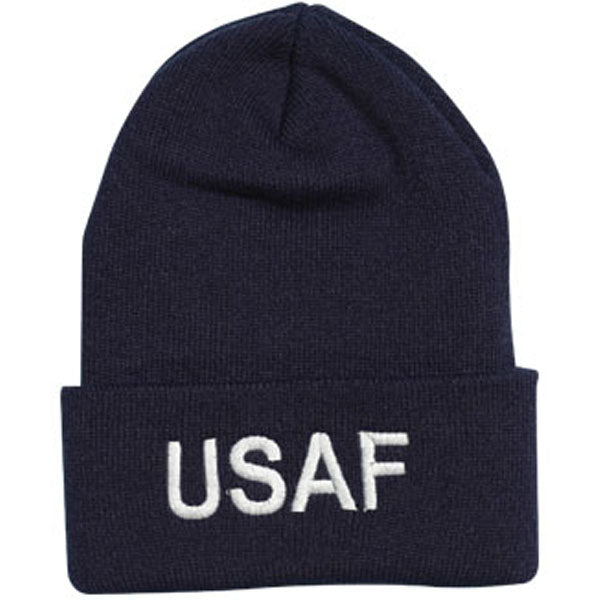 USAF Letters Direct Embroidered Blue Watch Cap - HATNPATCH