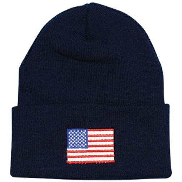 American Flag Direct Embroidered Black Watch Cap