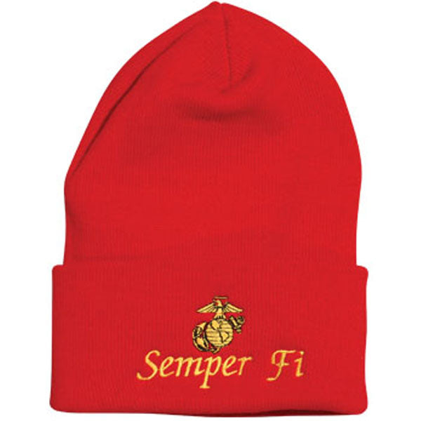 Semper Fi w/ Eagle Globe and Anchor Red Watch Cap