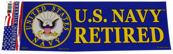 U.S. NAVY RETIRED Bumper Sticker - HATNPATCH