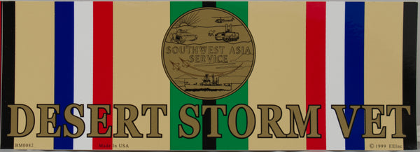 DESERT STORM VETERAN RIBBON/MEDAL BUMPER STICKER - HATNPATCH