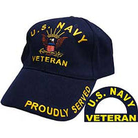 US NAVY VETERAN PROUDLY SERVED HAT - HATNPATCH