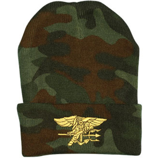 Navy Seal Logo Direct Embroidered Camo Watch Cap