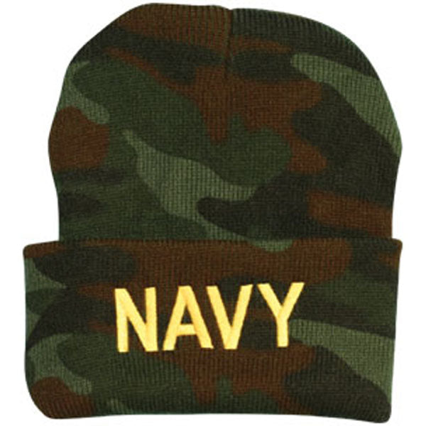 Navy NAVY Letters Direct Embroidered Camo Watch Cap - HATNPATCH