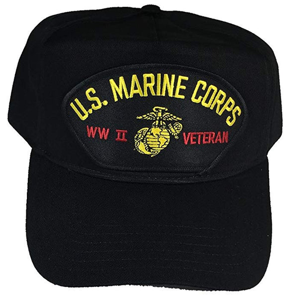 US MARINE CORPS WWII VETERAN Black/Golf Hat w/Snap Back - CLEARANCE