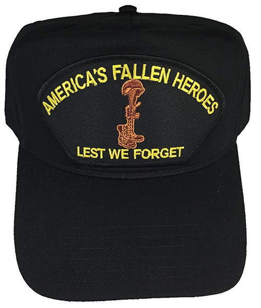 AMERICA'S FALLEN HEROES - LEST WE FORGET Black/Golf Hat w/Snap Back - CLEARANCE