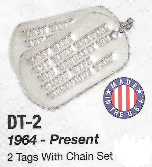 Genuine Military Dog Tags 1964 - Present