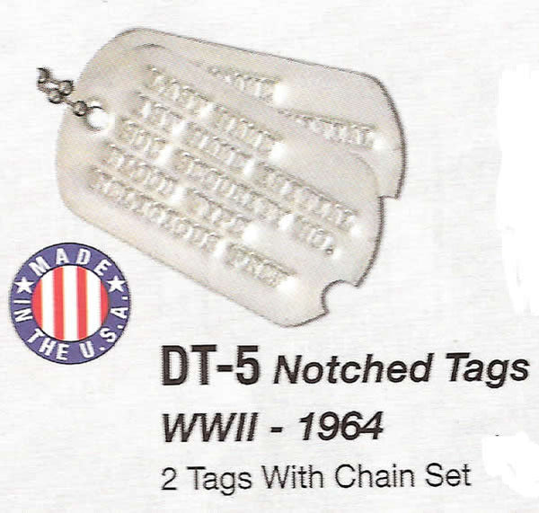 Genuine Military Dog Tags WWII - 1964 w/Notch
