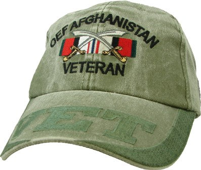 OEF AFGHANISTAN VETERAN OD EMBROIDERED HAT - 5 - HATNPATCH