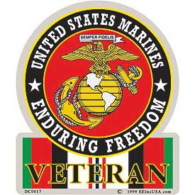 US Marine Corps OEF Enduring Freedom Veteran Decal