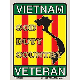 Vietnam Veteran God Duty Country Decal - HATNPATCH