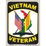 Vietnam Veteran W/ US/RVN Flags Decal - HATNPATCH