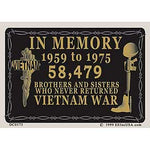 In Memory Vietnam 1959 - 1975 Decal