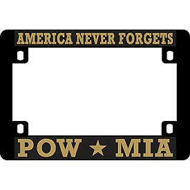 POW/MIA Heavy Plastic Motorcycle License Plate Frame - HATNPATCH