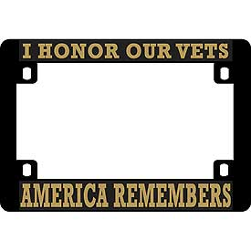 America Remembers Heavy Plastic Motorcycle License Plate Frame - HATNPATCH
