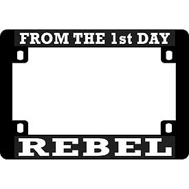 Rebel Heavy Plastic Motorcycle License Plate Frame - HATNPATCH