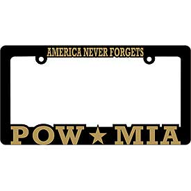 America Never Forgets POW MIA Heavy Plastic License Plate Frame